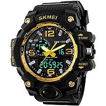 Alta calidad de los hombres analógico Digital multifuncional deporte dual tiempo de oro reloj de pulsera