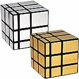 LSMY 2 Paquetes Espejo 3x3x3 Puzzle Cubo Toy Negro Dorado y Plata