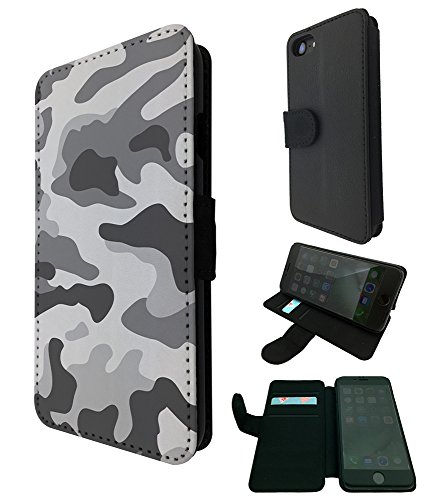 003597 - Grey Camo Army Camouflage Design iphone 5 5S / iphone SE 2016 TPU Leder Brieftasche Hülle Flip Cover Book Wallet Credit Card Kartenhalter Case
