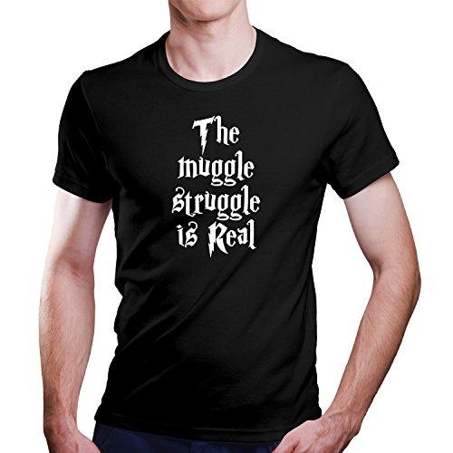 Harry Potter The Muggle Struggle is Real Parody T-Shirt Größe XS-4XL Ideales Geschenk (M, Schwarz)
