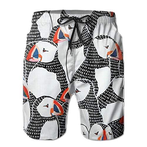 KAKICSA Mens Puffin Drawing 3D Swim Trunks Quick Dry Summer Underwear Surf Beach Shorts Elastic Waist with Pocket Drawstring(L) 3d-checker