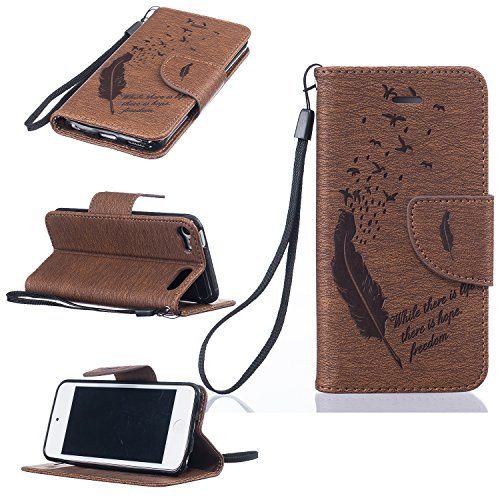 SICAS Apple iPod Touch 5/6 Wallet Case Lightweight Fashion Feathers Embossed PU Leather Kick Stand Case Cover Magnetic Flip Cover Card Holders & Hand Strap for iPod Touch 5, iPod Touch 6 - Brown