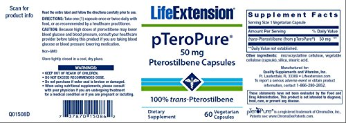 Life Extension pTeroPure Pterostilbene (50mg, 60 Vegetarian Capsules)