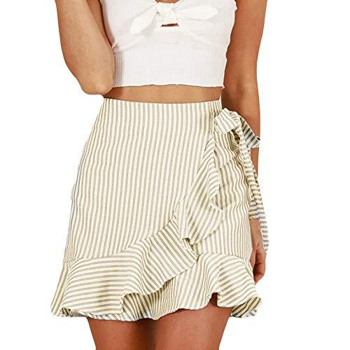 Longzjhd Damen Kurzer Rock Sweatrock Minirock Sommer Hohe Taille Streifen Bandage Mode Mädchen Sexy Uniform Minirock Mit Kordelzug 2019 Mädchen Sommer Casual Bleistiftröcke Streetwear