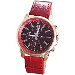 Silvercell Unisex Faux Leather Band Analog Quartz Wrist Watch Red