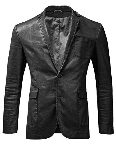Neue 2-knopf Herren Anzug (Crone Echtleder Herren Sakko aus 100% bestem matt schwarzen Schafsleder Luxus Designer Jackett Herren-Jacke Blazer Premium Lederjacke leicht Slim Fit (L, Schwarz))