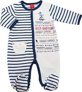Pyjama bébé garçon velours blanc et bleu marine - T 12 mois - Babygro