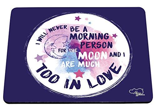 hippowarehouse I Will Never Be a Morning Person für die Mond und ich sind viel zu in Love bedruckt Mauspad Zubehör Schwarz Gummi Boden 240mm x 190mm x 60mm, Purple and Teal, Einheitsgröße (Halloween Pjs)