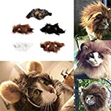FCGV Pet Costume Lion Mane Parrucca per Gatto Halloween Christmas Party Dress Up with Ear-Black (M)