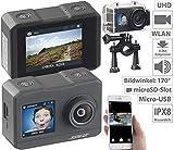 Somikon Actioncam: UHD-Action-Cam mit 2 Displays, WLAN und Sony-Bildsensor, IPX8 (Wasserdichte Kamera 4K)