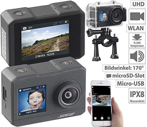 Somikon Actioncam: UHD-Action-Cam mit 2 Displays, WLAN und Sony-Bildsensor, IPX8 (Unterwasserkamera 4K)