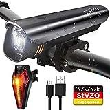 IZUKU Fahrradlichter Set StVZO Zugelassen Fahrradbeleuchtung Set mit IPX5 Wasserdicht USB Wiederaufladbare Fahrradlichter Frontlicht/Lichter mit Samsung Li Akku Rücklicht Blendfreie Fahrradlampe Set