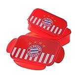 FC Bayern München 2er Set Brotdose / Lunchbox / Frühstücksbox / Vorratsdose Streifen Logo FCB - plus gratis Aufkleber forever München