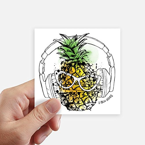 DIYthinker Headset Ananas Sonnenbrille Frucht Quadrataufkleber 10Cm Wand Koffer Laptop Motobike Aufkleber 8Pcs 10cm x 10cm Mehrfarbig (Früchte-wand-aufkleber)