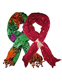 Goodluck Cotton Scarf Set Of Two Mullticoloured Stoles; Scarf And Stoles For Women … - B06WP4R8YW