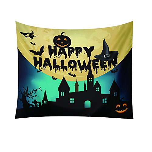 longyitrade 150 x 130 cm Happy Halloween Kürbis Castle Fledermaus Zum Aufhängen Strandtuch Home Decor, 5#, Large