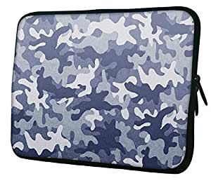 "Snoogg Camo Blue 2763 12"" 12.5"" 12.6"" inch Laptop Notebook Slipcase Sleeve Soft Case Carrying Case for Macbook Pro Acer Asus Dell Hp Sony Toshiba"