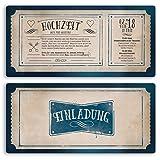 (10 x) Hochzeitseinladungen Vintage Retro Ticket Alt Einladungskarten Hochzeit
