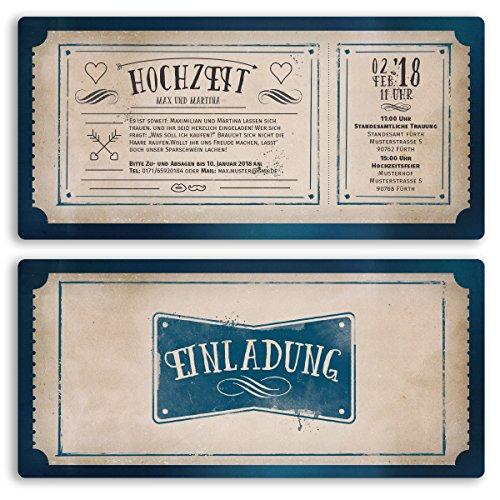 (30 x) Hochzeitseinladungen Vintage Retro Ticket Alt Einladungskarten Hochzeit