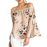 MRULIC Damen Frauen beiläufiges Blumendrucken Weg von der Schulter-T-Shirt Langarm-Oberseiten-Bluse(Khaki,EU-40/CN-M)