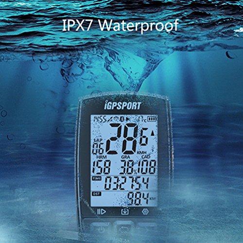 iGPSPORT GPS Drahtloser Tacho Computer Kilometerzähler IPX7 Wasserdicht Mit ANT+ Function mit Halterung Englisch Version(Schwarz) … - 4