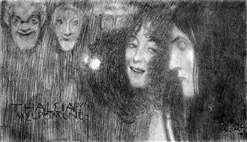 Das Museum Mädchen Outlet-Zwei Kopf im Profil und Masken Thalia und Melpomene-Leinwanddruck Klimt Online kaufen (76,2x 101,6cm)