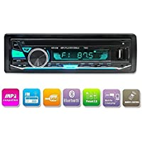 Bluetooth Radio de coche, LUCKYDIY Reproductor de medios digitales, solo Din, Reproductor de MP3 para coche en el tablero USB / SD / TF / FM / Receptor de audio Llamadas manos libres con control remoto inalámbrico +7 colores de luz ajustables