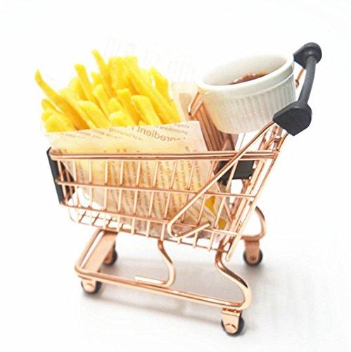 DROVE Exquisite Mini Warenkorb Supermarkt Hand Trolley Aufbewahrungskorb decoration-rose Gold