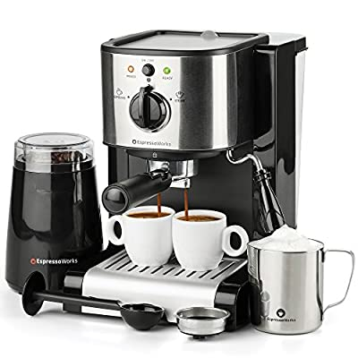 7 Pc All-in-One Espresso & Cappuccino Maker Machine Barista Bundle Set w/Built-in Steam Wand (Inc: Coffee Bean Grinder, Portafilter, Frothing Cup, Spoon w/Tamper & 2 Cups), Stainless Steel