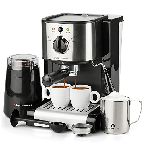 7 Pc All-in-One Espresso & Cappuccino Maker Machine Barista Bundle Set w/Built-in Steam Wand (Inc: Coffee Bean Grinder, Portafilter, Frothing Cup, Spoon w/Tamper & 2 Cups), Stainless Steel 51kwGpFiBWL