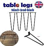 4 x robuste Haarnadel-Tischbeine, Metalleisen, Stahl-Stahl, mit zwei Stangen, ideal für Couchtisch, Esstisch, Designer-Schreibtisch, Nachttisch, 40,6 cm, Schwarz