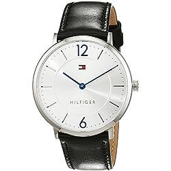 Tommy Hilfiger 1710351 - Reloj análogico de Cuarzo con Correa de Cuero para Hombre, Color Negro/Plata