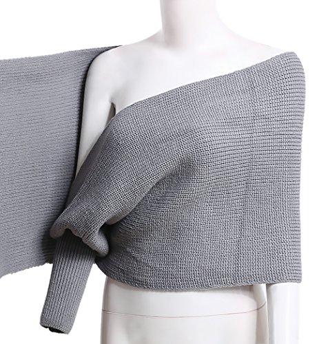 Donna Maglia Cardigan Mantelle Elegant Manica Lunga V Scollo Irregolare Autunno Inverno Calda Mantellina Poncho Maglione Maglioni Classica Cappotto Outwear Grigio