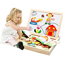 Lewo Juego infantil doble caballete magnético con rompecabezas y pizarra de dibujo y escritura