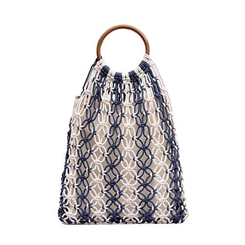 Blau Stroh Handtaschen (Ausverkauf Damen Tasche Damen Mode Retro Gewebte Umhängetasche Einfarbige Handtasche Gewebte Tasche Strandtasche)