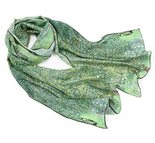 prettystern Damen Seiden-Schal Malerei Silk Scarf grün Kunst-Drucke Gustav Klimt - der Park P899