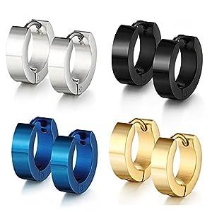 Jaetech House 4 Paar Edelstahl Huggie klappbar Ring Ohrringe – Inklusive Ohrringe für Männer – Schwarz, Blau, Gold und Silber Reifen für Männer 9mm (MEHRWEG)