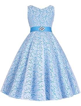 Grace Karin® A-Línea Vestido de Princesa sin Mangas Cuello V de Dama de Honor Boda Bautizo Fiesta para Niñas 2...