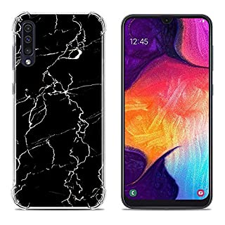 Aksuo for Samsung Galaxy A50 Case, Women Girls boy Men Printed Transparent Clear Design Plastic Case with TPU Bumper Protective Cover, Black Marble