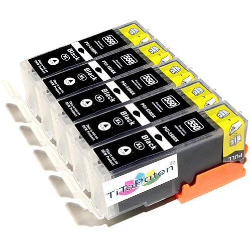 *TITOPATEN* - 5X Canon Pixma IP 7250 kompatible XL Druckerpatronen - Schwarz - Patrone MIT CHIP !!!Hohe Laufleistung!!!