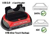 """Ronsen 875J Hard Disk Drive Docking Station - USB 2.0 Dual Port per Disco Rigido 2.5""""/3.5"""" IDE e SATA I/II HDD SSD, con Lettore di Schede (SD/XD/Micro SD/TF/MS/CF/MD)"""