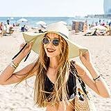 Sonnenhut Damen Faltbar Mit Breite Krempe, Gro?er Krempe Sommerhut, Sommerhut Panama-Hut H¨¹te UV Schutz mit Sommer Strand Draussen Ferien Am Meer (Beige)