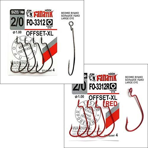 FANATIK Haken Offset FO-3312-XL gr. 8, 6, 4, 2, 1, 1/0, 2/0, 3/0, 4/0, 5/0 jig Angel Fishing Hook für Gummiköder (Rot, 39mm - #2/0-4 Stück) -