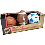 POOF Pro Gold Foam 3 Sport Ball Pack includes Football, Basketball, and Soccer Ball by POOF