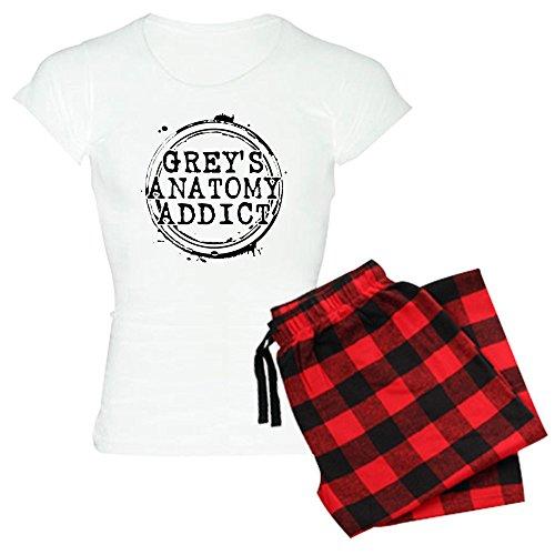 CafePress Grey 's Anatomy Addict Damen leichte Schlafanzüge-Damen Neuheit Baumwolle Pyjama Set, bequemen PJ Nachtwäsche Gr. Large, with Red Plaid Pant -