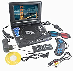 DVD Player Portable 9.8 3D EVD with USB Playback TFT Swivel Flip Screen Game + MP3 + Card Reader Support + 3D Support shopperzone