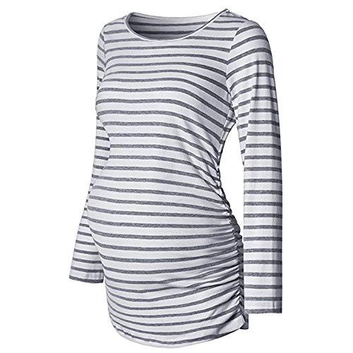 Damen Locker Gestreifte Umstandsmode T-Shirt für Schwangerschaft Herbst Langarmshirt Tuniken Mutterschafts Rundkragen Hemdblusen Kleidung Bluse Umstandshirt Oberteile