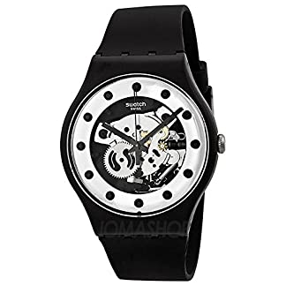 Swatch SReloj Originales Plata Glame Esqueleto Dial Negro silicona Mens Reloj SUOZ147