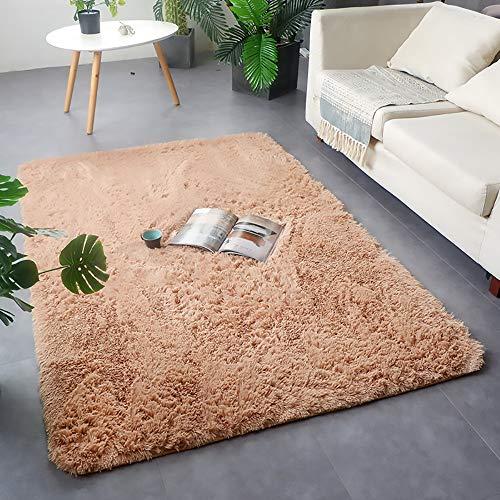 GOYOO Die Seide Wolle Teppich Bedside Decke Vollständiger Shop Persönlichkeit Einfarbig Lange Haare Schminktisch Faul Teppich,Beige,0.7 * 2.1m
