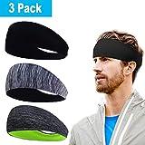 Herren Stirnband (3er Pack), Herren Schweißband & Sport Stirnband für Fitness, Training, Laufen,...